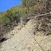Montée pour rejoindre le bisse des vignes. Une corde aide à franchir un endroit où le sentier s'est écroulé.