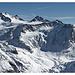 der Pitztaler Eisexpress im Überblick von rechts nach links - Taschach Nordwand, Petersenspitze, Hinterer Brochkogel und Wildspitze Nordwand