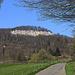 Die Felsen der Schauenburgflue. Der höchste Punkt P.666m ist allerdings links im Wald zurück versetzt.