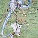Die mit weißen Pfeilen markierte Route ab Beuron. Wir sind im Gegenuhrzeigersinn gelaufen
