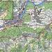 Karte meiner langen Tour zu drei römischen Ruinenanlagen und auf zwei Gipfel. Rot ist die Fahhradroute eingezeichnet, blau meine Strecken zu Fuss.