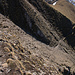 Morgenberghorn Südgrat: Die etwas ausgesetzte, meist kettengesicherte Passage von Obern her gesehen.
