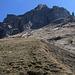 Von den Alphütten Ober Zwibeln stiegen wir am Südrand eine grossen Weide auf Wegspuren weiter auf zu P.1909m wo wir unser Biwak einrichten wollten. Ober uns türmt sich der Hahnen auf, vom aber nur sein südwestlicher Vorgipfel P.2593m zu sehen ist.