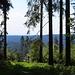 Durchblick nach Osten bis zur Schwäbischen Alb. Bei guter Sicht sollte sie bis  zum Hochvogel reichen (sagt Deuschle) und an anderer Stelle bis in die Glarner Alpen.