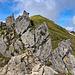 Der kurze, schmale Felsgrat zwischen Geißfußsattel und dem Aufschwung zum Gundkopf.