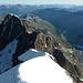 Rückblick über den leeren Firngrat ins Bündner Gipfelmeer - und wir sind  alleine auf dem Biancograt ;-)