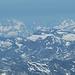Die nächsten Viertausender, Finsteraarhorn und Lauteraarhorn, beide etwa 138km weit entfernt