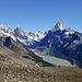 Aussicht vom Loma del Pligue Tumbado auf den Cerro Torre und den Monte Fitz Roy.