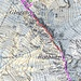 Kartenausschnitt mit dem interessanten Teil der Route: <br />blau: T3<br />violett: T4<br />rot: T5<br />orange: T6<br />grün: Schneefeldrutschpartie/-party