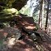 Cengia rocciosa con fune di sicurezza
