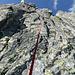 Die gutmütige 15m-Abseilstelle zwischen Pizzo Caurga und Settimo Nano