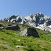 """Alp de Setaggié Addio! Letzter Blick zurück zur Hütte, darüber von links Piz Forcletta, """"Fiamma"""" und Piz di Setaggiolo di Dentro"""