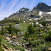 """Nach drei Stunden Aufstieg erreichte ich die Wasserfassung vom Fleschbach am Rande die Hochebene """"Obere Stafel"""" auf 2150m.<br /><br />Hoch über der Alp stehen das Fleschhorn (3004m) und Schwarzhorn / Punta Marani (3108m)."""