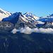 Scherbadung / Pizzo Cervandone (3210,5m):<br /><br />Gipfelaussicht aufs Jungfrau/Aletschgebiet mit Aletschhorn (4193m), Jungfrau (4158,2m) und Mönch (4107m).