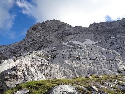 Abstieg (N-Seite): rechts des Gipfels die Rinne mit der Abseilstelle zum Schneefeld runter. Weiterer Abstieg dann rechts oder links um den plattenpanzer rum