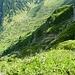 Blick in die Runs östlich des Nordwestgrates. Man sieht sie gut vom Tal aus.