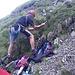 Vorbereitungen im steilen Gelände