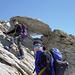 Kurze Kletterpassage am Rottalgrat