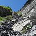Aufstiegscouloir nach der langen Traverse unterhalb des Felsriegels des Plattnerbergs