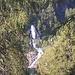 La cascata che si getta nel lago Sardegnana.<br />Tale foto è stata scattata dalla sella posta poco a Est del Monte Sardegnana (1904 mt.)