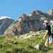 Im Aufstieg zur Almagellerhütte: die Drih Horlini im Blickfeld