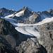 Von links Vorder Galmihorn (3517m), Hinter Galmihorn (3486m) und Oberaarrothorn (3477m)