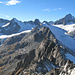 Von links Vorder Galmihorn, Hinter Galmihorn, Oberaarrothorn, Finsteraarhorn und genau davor das Oberaarhorn
