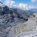 Gamchigletscher: im unteren Bereich ein Canyon-zerfurchte Blockgletscher