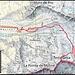 Meine Route auf die Testa Grisa (3060m). Der Berg ist auf der neusten Kartenausgabe nun einen Meter niedriger mit einer Höhe von 3059m angegeben.