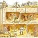 Schema dell'evacuazione del materiale scavato nelle città sotterranee. <br />La terra veniva portata fuori con delle carrucole lungo i camini di aerazione.