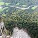 Tiefblick auf die Bregenzer Aach vom Liegstein aus