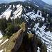 Kurz unterhalb des Girenkopfes schaue ich zurück zum bewaldeten letzten Gipfel des Kammes, über den ich eben kam