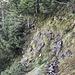 Ende der Ausbaustrecke - jetzt wirds ernst. War unangenehm, da nass und rutschige Felsen , die gekraxelt werden müssen.