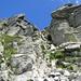 Der steile, aber gut gestufte Kamin, der zur Cima dell' Uomo hinaufführt