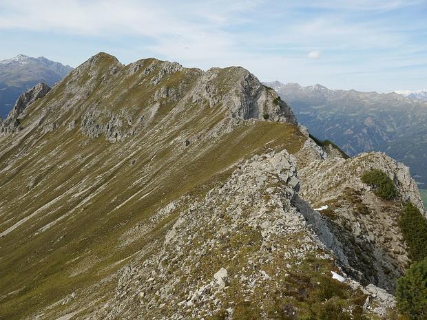 Auf dem Weg zur Gedeindlspitze gibt es 2 kurze Stellen II.