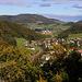 Ausicht von der Ödenburg ins Eital auf Tecknau (445m) und die Rickenbacher- oder Böckter Flue (745m).