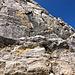Das Gipfelwändchen (II+) von unten.