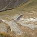 Am Kar des oberen Fontanellabachs weiden Rinder (ganz rechts oben) und es wechseln eben große Rudel (ca 50 Tiere) von Gamswild