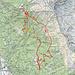 Sulla mappa il nostro percorso. ho sottolineato in GIALLO il tratto Bens-Alpe Provei sicuramente un T4, ed in VIOLA il tratto Indiana Jones alla cascata