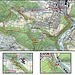 Karte unserer Rundwanderung über die Eggflue und den Chuenisberg. Die Lagen der beiden besuchten, pähistorisch bewohnten Höhlen Abri Angenstein und Schalberg sind in den beiden Kärtchen eingezeichnet. Neben den Höhlen besuchten wir sechs Burgruinen und ein Dolmengrab.