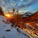 Derniers rayons de soleil sur le pâturage de Nüschelet.