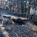 Ein Brücklein hilft beim Überqueren eines Baches im Bergsturzgebiet