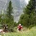 Über steile blumenreiche Grasflanken gehts bergauf Richtung 'Schrofenwiese'