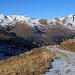 Von der Alp Neaza spazierte ich auf dem Alpsträsschen gemütlich zurück zu meinem Zelt.<br /><br />Am Horizont ist das Panorama mit Piz Beverin (2997,5m) rechts und links die Dreitausender Schwarzhorn (3032m), Gelbhorn / Piz Mellen (3035,9m) und Bruschghorn (3056m).<br /><br />Das Bruschghorn habe ich vor sechs Jahren ebenfalls schon einmal im November besucht:<br />[https://www.hikr.org/tour/post88447.html]