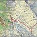 Meine rot eingezeichnete Route von der Busstation Pignia Bogn (955m) auf den Piz Curvér (2971,8m). Bein Biwakzeltplatz auf 2070m habe ich als rotes Dreieck eingezeichnet.Etwas bequemer könnte man in der Wanderhütte P.2138m übernachten, um so kein Zelt mitzunehmen. Für Auf- und Abstieg mit dem schweren Rucksack zur Alp Bavugls (1940m) ging ich dem Fahrsträsschen entlang, denn der Wanderweg wäre nicht wirklich schneller. Die Schwierigkeit der Tour ab Alp Neaza (2229m) ist T3 und auf dem Nordwestgrat sind gute Wegspuren vorhanden.