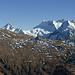 Aussicht vom Sitestafelgrat zur Nanzlicke gegenüber: von links u.a. Punta Terrarossa, Monte Leone, Breit- und Hübschhorn