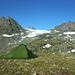 Nettes Zeltplätzchen, links Le Miroir, rechts Grand Mont Calme