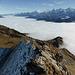 Abstieg über den nicht ganz einfachen ENE-Grat: unten links die Wysse Zend und Sattel 1955, oben über dem weiten, vom Haslital bis ins Kandertal reichenden Nebelmeer von links u.a. Zentralschweizer Berge, Faulhorn-Schwarzhorn Gruppe, und über der Schwalmere Gruppe Wetterhorn bis Jungfrau