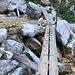 """Im Abstieg zwischen Okrešlj und Logarska dolina - Rückblick: Auf einer kleinen Bücke haben wird gerade die Savinja in unmittelbarer Nähe der """"Oberkante"""" des Slap Rinka gequert. Neben dem Wasserfall steigen wir nun gleich weiter ab und wandern dann noch ein kurzes Stück zum Parkplatz im Logarska dolina."""