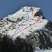 Maischüpfenspitz SE-Flanke vom Wanderweg unterhalb Untere Jansegg aus: rot die ungefähre Aufstiegsroute entlang dem SE-Grat und über die Sekundärrippe, blau etwa die Abfahrtsroute durch das Gipfelcouloir und die mittlere SE-Flanke